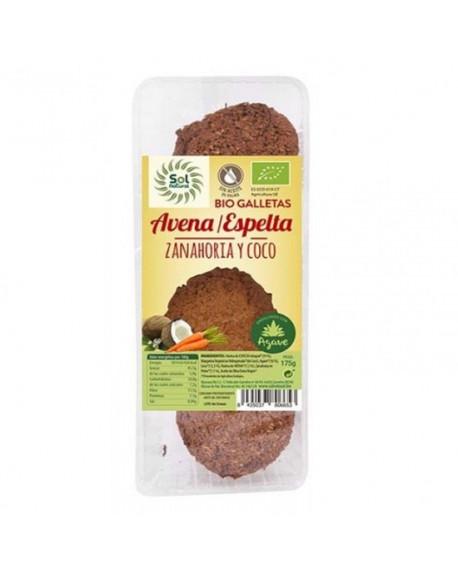 GALLETAS DE ESPELTA Y AVENA CON ZANAHORIA Y COCO BIO AGAVE 175 G SOL NATURAL Pan, Bolleria y Galleteria  Sol Natural